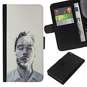iBinBang / Flip Funda de Cuero Case Cover - Hombre Retrato Cara Mist Arte Ojos Cerrados - HTC DESIRE 816