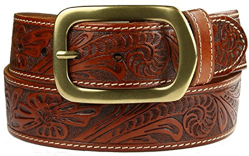 Jefferson Western Embossed Genuine Leather Casual Jean Belt (Tan, 38) (Brown Embossed Leather Belt)