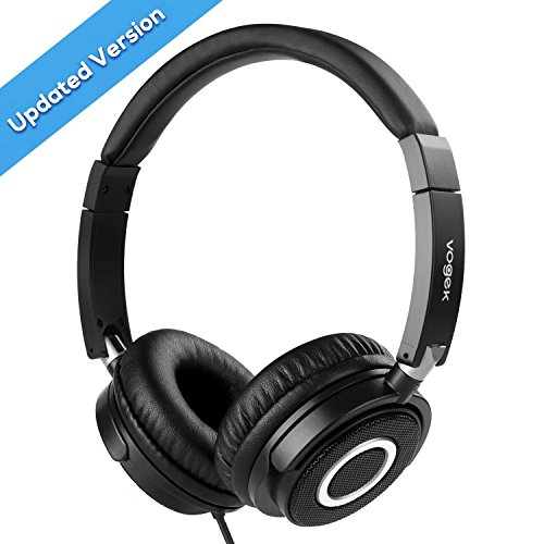 On Ear Headphones with Mic, Vogek Wired Foldable Bass Headphones with Volume Control and Microphone-Black