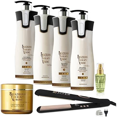 Keratin Cure Brazilian Therapy Xtreme BTX Capilar Miracle Protein Keratin Hair Capilar Treatment Enhanced Formula for Blonde, Thin, Fragile Hair, Straighten Smooths,Moisturizer (960ml/32floz 7pc)