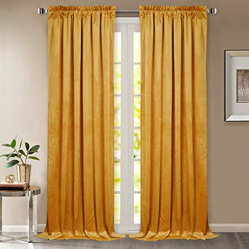 StangH Velvet Curtains 96 Inches - Super Soft Velvet Drapes Noise & Sunlight Reducing Privacy Protect Panels with Dual Rod Pocket for Hall/Holiday Fete, 52 x 96 inches, 2 Pcs (Velvet Curtain Panels Gold)