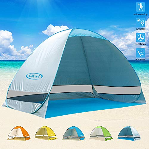 G4Free Outdoor Automatic Pop up Instant Portable Cabana Beach Tent 2-3 Person Camping Fishing Hiking Picnicing Anti UV Beach Tent Beach Shelter, Sets up in Seconds(Silver)