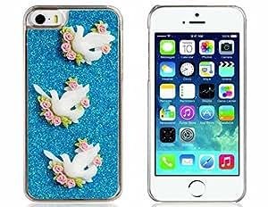 Pigeon 3D Decorado de plástico del brillo para iPhone 5S / 5 (azul)
