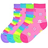 K. Bell Brand Girl's Mix It Up Dots & Stars Crew Sock, Size: 6-8.5 comes with a Helicase Brand Sock Ring