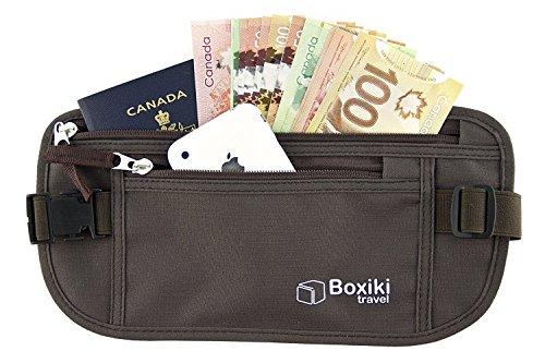 Geld Gürtel–RFID-blockierender Geld | Sicher Taille Tasche, sicher Gürtel für Männer und Frauen von boxiki Reise. Passt Passport, Geldbeutel, Handy und persönliche Gegenstände (braun)