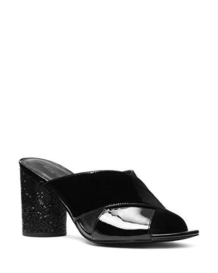 78b145c2ba8c Michael Michael Kors Womens Cher Patent Leather Mid Heel Mules Open Toe  Mules  Amazon.co.uk  Shoes   Bags