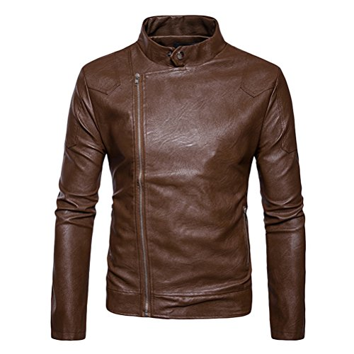 Zhhlinyuan Mens Stand Collar Solid Color PU Leather Oblique Zipper Jacket Coat (Pu Solid Stand Collar)