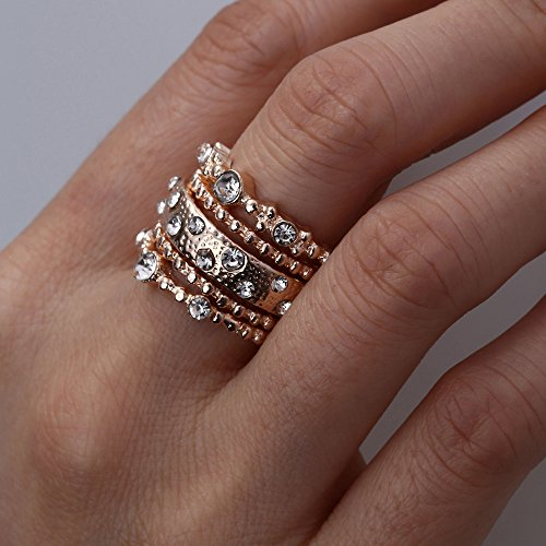 (Barhalk 5pcs Shiny Rings Leaf Rhinestone Joint Rings Bohemian Vintage Silver Stack Ring Set Cute Dainty Rings Birthday Party Gifts for Ladies Girls (Gold, 8))