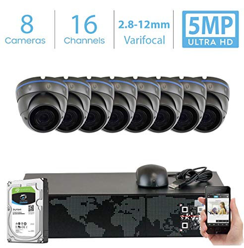 GW 16 Channel 5MP Video Surveillance System, 16CH NVR w/ 2TB HDD (2 SATA, Up to 16TB), 8 PoE IP 5MP Varifocal Zoom Weatherproof Dome Security Camera for 24/7 Recording & Remote Home Monitoring System