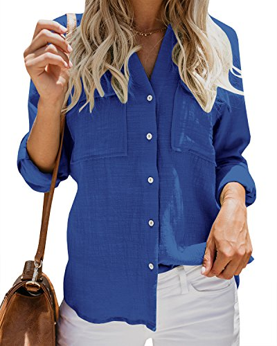 Womens Casual Tops V Neck Button Up Shirts Linen Cuffed Sleeve Collared Slit Blouse Blue