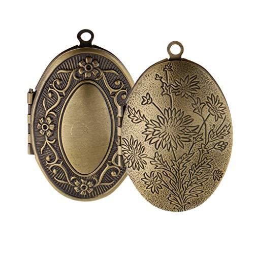 2Pcs Vintage Zinc Alloy Oval Flower Pattern Photo Locket Frame Pendants ()