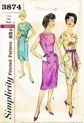 Wiggle Sheath (Simplicity 3874 Misses' Sheath Dress Wiggle Skirt Sewing Pattern Vintage Rockabilly Check Offers for Size)