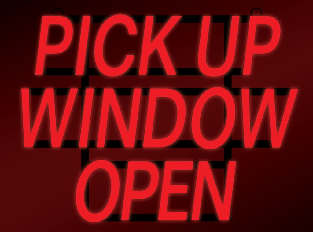 ComeAlong Industries Red Heavy Duty LED''Pick UP Window Open'' Sign, 23-Inch Wide x 17-Inch High by ComeAlong Industries