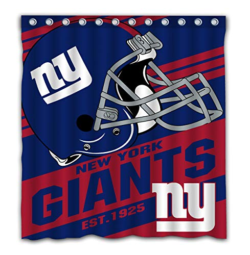 Potteroy New York Giants Team Stripe Design Shower Curtain Waterproof Mildew Proof Polyester Fabric 66x72 Inches