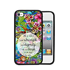 Colorful Flower Garden with Butterflies Proverbs 31:25 Religious Bible Scripture Apple iPhone 4/4s/4G Rubber TPU Silicone Phone Case