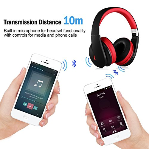 ausdom wireless bluetooth headphones on ear stereo bass bluetooth headsets with built in. Black Bedroom Furniture Sets. Home Design Ideas