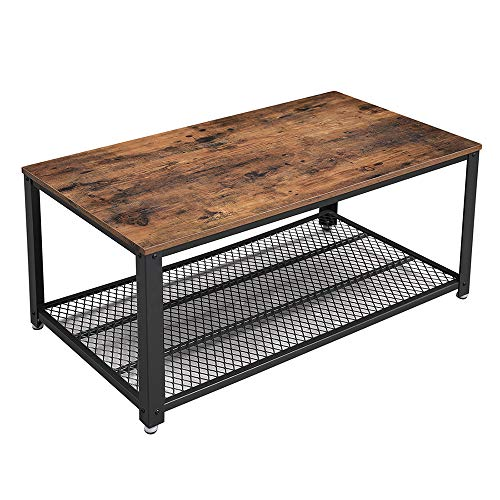 VASAGLE Industrial Coffee Table with Storage Shelf for Living Room, Wood Look Accent Furniture with Metal Frame, Easy Assembly, Rustic Brown ULCT61X Black Rustic Coffee Table