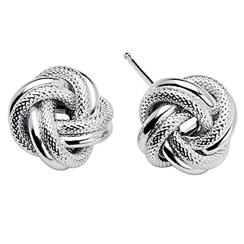925 Sterling Silver Love Knot Rope Stud Earrings Rhodium Plated Made in Italy -