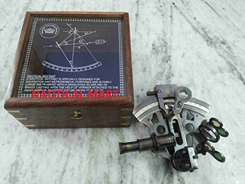 brass gift store Vintage German Sextant with Wooden Box Antique Finish i from brass gift store