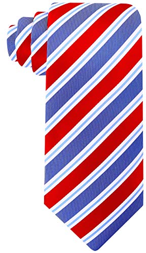 Scott Allan Mens 100% Silk Striped Necktie - Red/Slate Blue ()