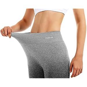 RUNNING GIRL Ombre Shorts 7.5 inches Yoga Running Bike Active Shorts Power Flex High Waist Tummy Control, 3pack Black/Black/Grey, US 4-6