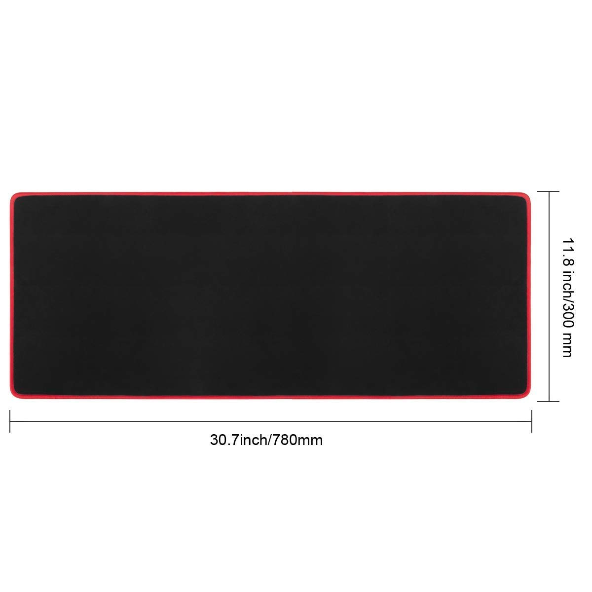 Gaming Mouse Pad, Vellepro XLarge Computer Extended Keyboard Mouse Mat Mousepad, Stitched Edges - Non-Slip Water-Resistant Rubber Base, 31.5 x 11.8 x 0.12 inch - Black