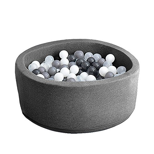 (Wonder Space Deluxe Kids Round Ball Pit, Premium Handmade Kiddie Balls Pool, Soft Indoor Outdoor Nursery Baby Playpen, Ideal Gift Play Toy for Children Toddler Infant Boys & Girls (Dark Grey))
