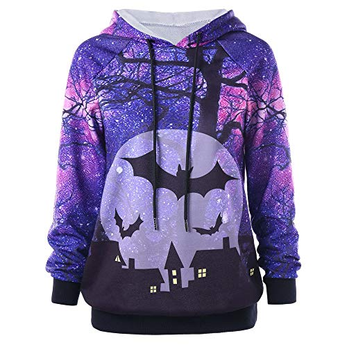 iDWZA Women Halloween Drawstring Bat Castle Print Hooded Hoodie Sweatshirt Tops(XL,Purple) -