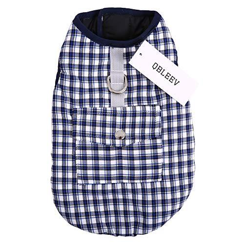 QBLEEV Pet Dog Coat Vest Jackets Clothes Reversible Waterproof Climate Changer PP Cotton Lattice Fabric Autumn and Winter Samoye Husky Golden Retriever Blue Plaid Black XL