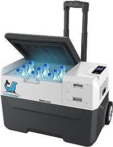 ACOPOWER LiONCooler Portable Solar Fridge Freezer, -4°F by LG Compressor, Solar/AC/Car Charge (32 Quart, Replaceable Battery)