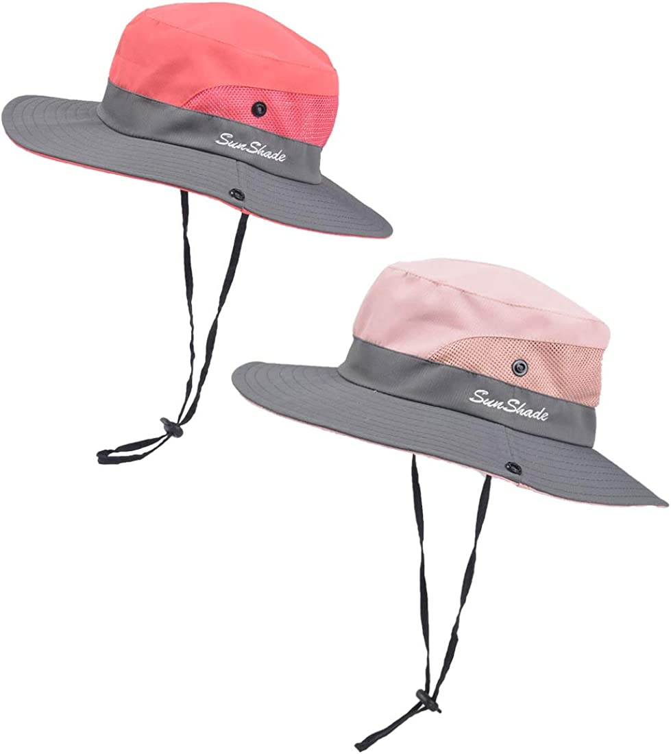 2 Pack Kids Girls Ponytail Sun Hat Beach Safari Hat Wide Brim UV Protection Summer Bucket Cap