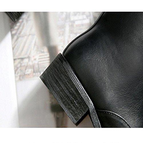 CHENGREN CHENGREN CHENGREN Anteriori Black Stivali Scarpe Casual Stivali Impermeabili Cerniera Donna con 42 Vintage 42 da 4a4rq