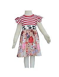 Qliyang Baby Girls Summer Dress Toddler Girls Farm Animals Cotton Stripe Dress