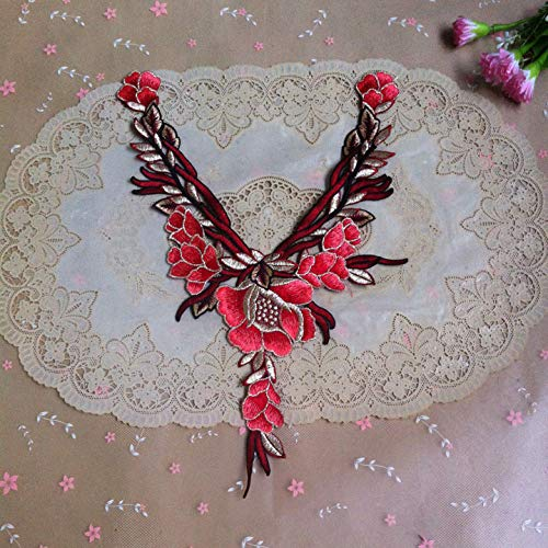 1 Pcs Embroidery with Gold Thread Neckline Collar Applique Embroidery Fabric Cloth Sewing Patchwork DIY Craft(Color L) - Stitch Decorative Gold Design
