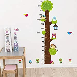 Fresh style Owl&Monkey tree stickers Kids Height ruler Removable for Living Room Bedroom Wall Decal