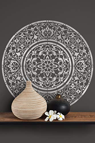 (Mandala Medallion Stencil - Large Round Design for Painting Wall or Floor)