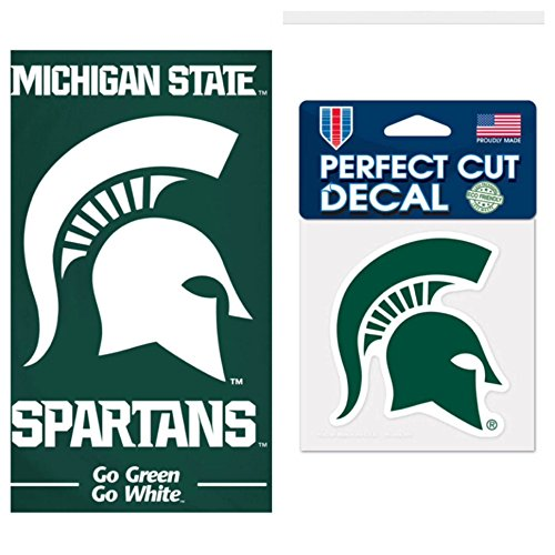 WinCraft NCAA Michigan State University Spartans 30 x 60 inch Towel and 4 x 4 inch Perfect Cut Decal SET