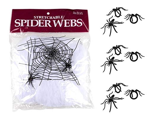 (Halloween Stretchy White Spider Web Decor and Black Spider Rings - 2 Pack + 144 Rings)