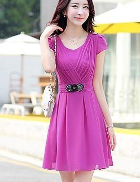 LYQ/ De las mujeres Tallas Grandes Vestido Casual / Bonito Un Color Sobre la rodilla