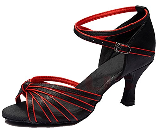 Minetom Women's Ankle Strap Buckle Patent Low Heel Peep-toe Satin Pumps Standard Ballroom Latin Tango Dance Shoes Black-Red hby32