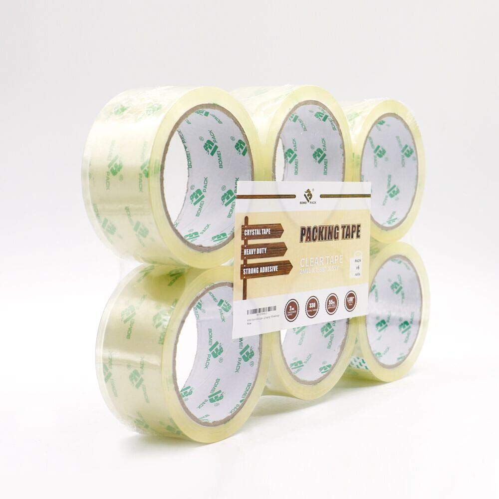 BOMEI PACK Super Clear Packing Tape, No Bubble Shipping Packaging Tape 6 Refill Rolls 1.88'' x 55 Yards for Carton Box Sealing, Moving Packaging, Office&Storage