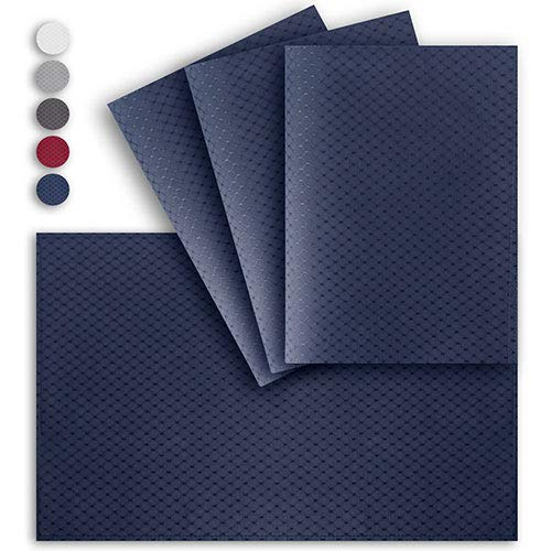 (VCVCOO Anti-Stain Quilted Double Sided Placemats for Dining Table, 13 by 19 inches Placemats Set of 4 Pieces, Navy Blue Waffle Woven Fabric Table Mats Machine Washable)
