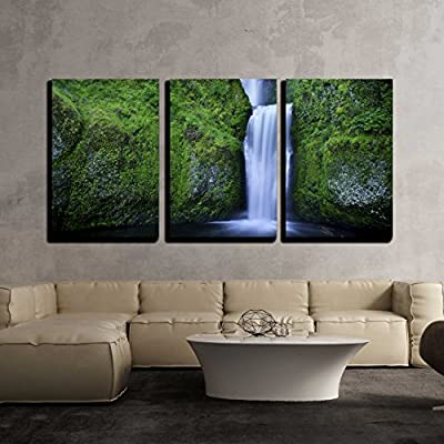 3 Piece Canvas Wall Art - Multnomah Falls and The Foot Bridge Across in The Columbia River Gorge - Modern Home Art Stretched and Framed Ready to Hang - 16