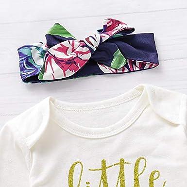puseky Newborn Baby Girls Little Sister Outfits Romper Jumpsuit Floral Pants Headband Hat 4pcs Set