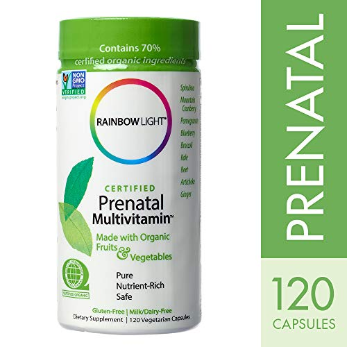 Rainbow Light - Certified Prenatal Multivitamin, Promotes Fetal Development, Energy Levels and Digestion for Mother and Child with Folic Acid and Ginger, Organic, Gluten-Free, Vegetarian, 120 - Prenatal Organic Rainbow