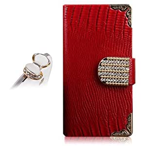 Uming Crocodile Leather Case for Samsung Galaxy Note2 N7100 PU Leather Flip Case Book Style with Bling Rhinestone Golden credit card slot wallet Shell Protective Case Cover Bag Bling Glitter Glossy Magnetic Closure Belt + 1x Kristal bow Anti Dust Plug (Red)