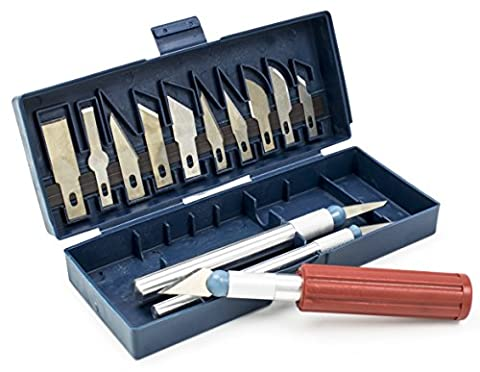 Bastex 16 Piece Hobby Craft Knife Set. Great Beginner set - Includes 3 Different Handles and 13 Blades. Great for scrapbooking, sculptures and Other Arts and - Craft and Hobby Supplies