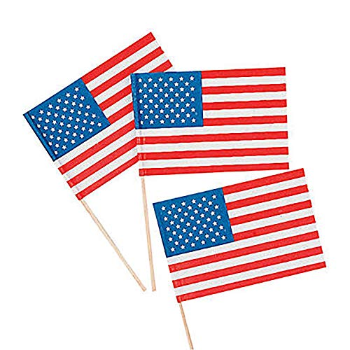Small Paper American Flags on Sticks Perfect for Fourth of July - 4 1/2