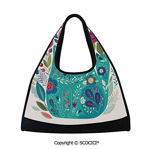 Fitness bag,Cute Kitty Surrounded by Birds Flowers Ladybugs Inspirational Folk Baby Theme,Sports and Fitness Essentials(18.5x6.7x20 in) Seafoam Multicolor ()
