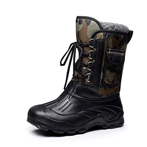 8cb7094634f Botas para la Nieve de Invierno para Hombre Zapatos tácticos Impermeables y  cálidos hasta la Rodilla Botas con Punta Redonda Botas Impermeables para  Lluvia ...